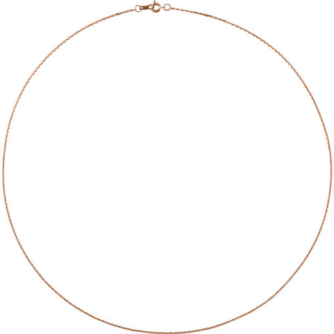"14k Rose Gold 1mm Diamond Cut Cable 18"" Chain"