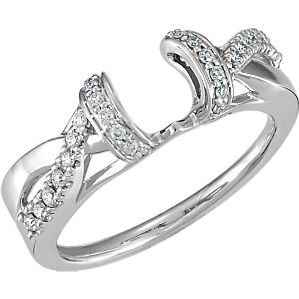 14k White Gold 1/5 CTW Diamond Ring Wrap, Size 7