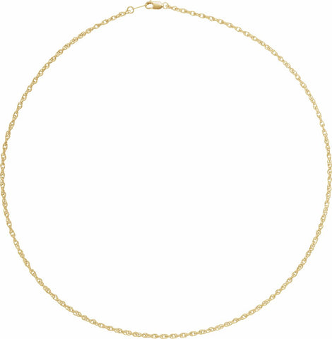 "18K Yellow 2 mm Solid Rope 20"" Chain with Lobster Clasp"