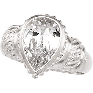 Cubic Zirconia Ring in Sterling Silver, Size 8