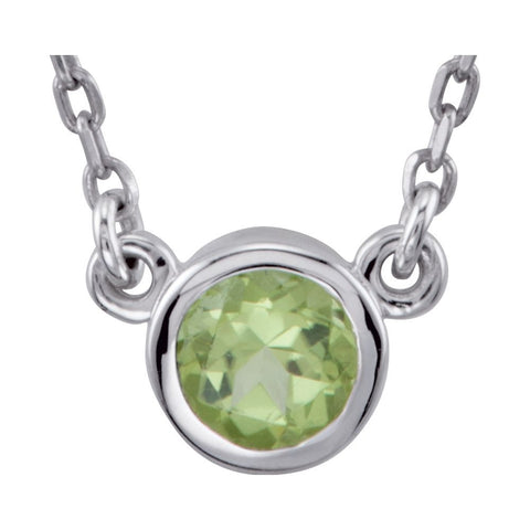 Round Bezel Necklace Center in Sterling Silver ( 16.00-Inch )
