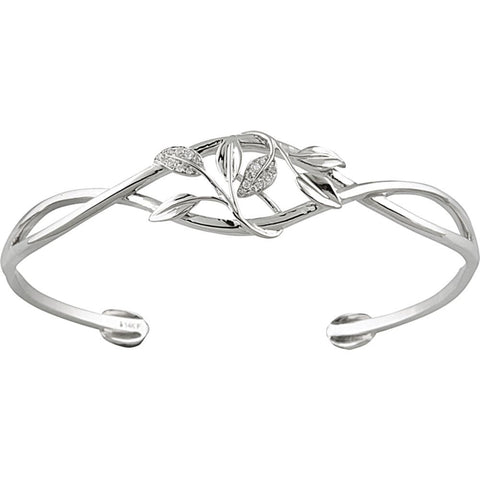 0.05 CTTW Cuff Bracelet with Leaf Design in 14k White Gold