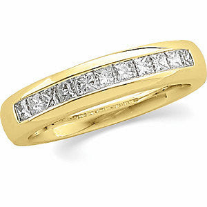 14k White Gold 1 CTW Diamond Men's Princess-Cut Diamond Ring, Size 11
