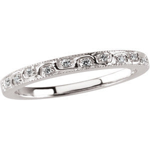 0.07 CTTW Wedding Band for Matching Engagement Ring in 14k White Gold ( Size 6 )