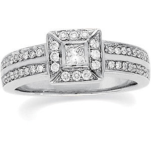 14k White Gold 1/2 CTW Diamond Engagement Ring , Size 6
