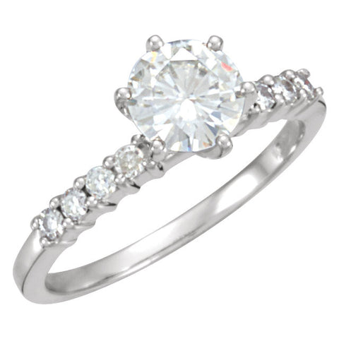 1 1/4 CTTW Created Moissanite Engagement Ring in 14k White Gold ( Size 6 )
