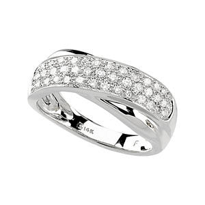 14k White Gold Criss Cross Ring, Size 6