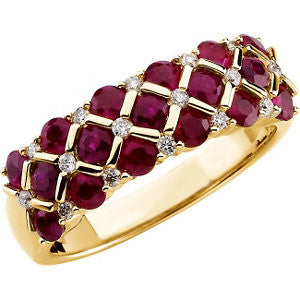 14k Yellow Gold Ruby & 1/6 CTW Diamond Ring, Size 6