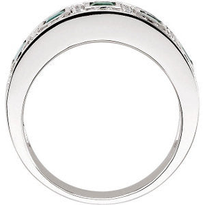 14k White Gold Emerald & 3/8 CTW Diamond Ring, Size 7