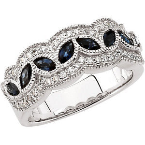 1/3 CTTW and Sapphire Diamond and Genuine Sapphire Anniversary Band in 14K White Gold ( Size 6 )