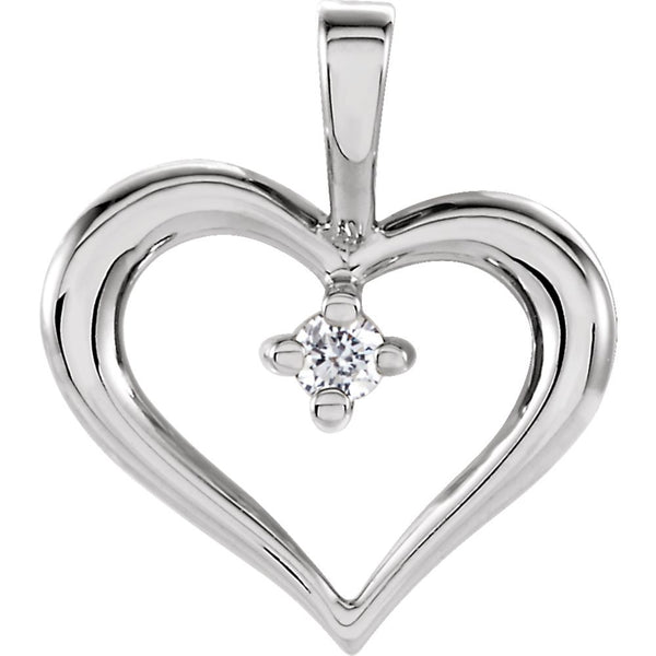 14k White Gold Heart Pendant