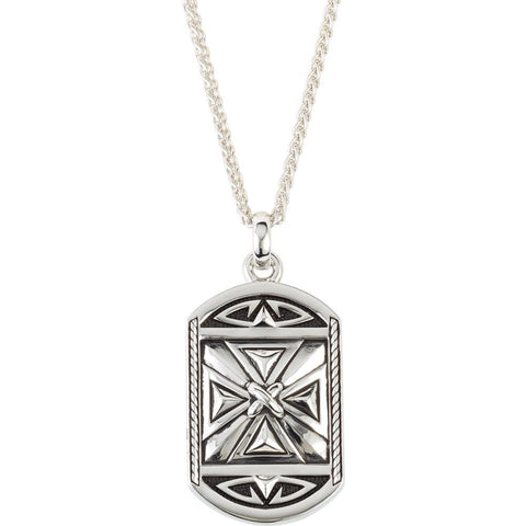 Reversible Cross Pendant with Black Enamel on 24-inch Wheat Chain in Sterling Silver