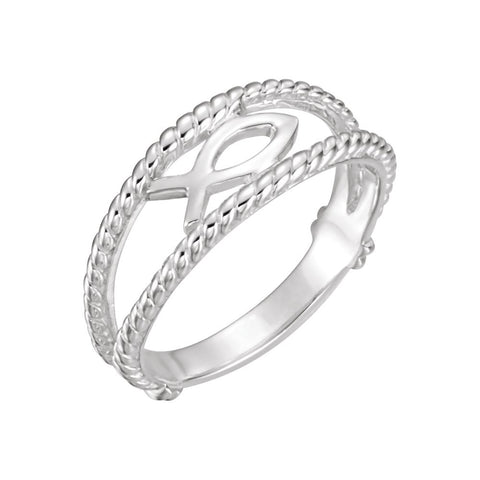 Ichthus (Fish) Chastity Ring in 14k White Gold ( Size 7 )