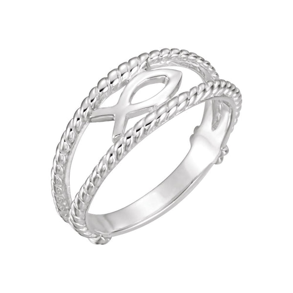 14k White Gold Ichthus (Fish) Chastity Ring, Size 5