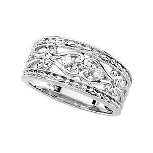 0.05 CTTW Diamond Wedding Band Ring in 14k White Gold (Size 6 )