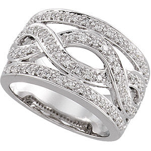 14k White Gold 1/2 CTW Diamond Infinity-Inspired Band, Size 7