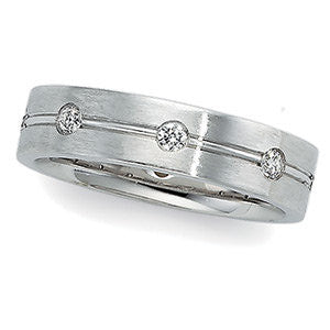 14k White Gold 1/2 CTW Diamond Duo Band, Size 11
