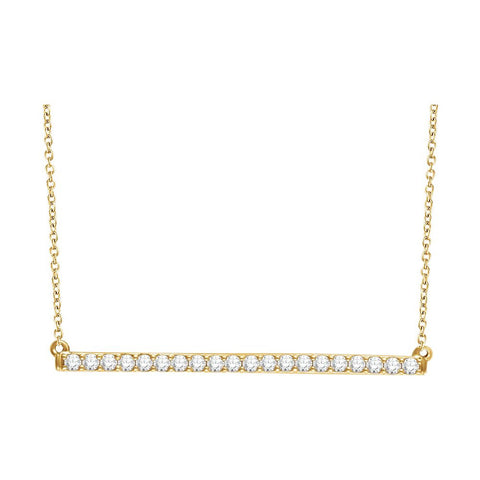 14k Yellow Gold 1/2 ctw. Diamond Bar 16-18-inch Necklace