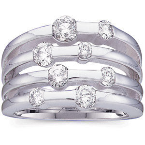 14k White Gold Diamond Right Hand Ring, Size 6