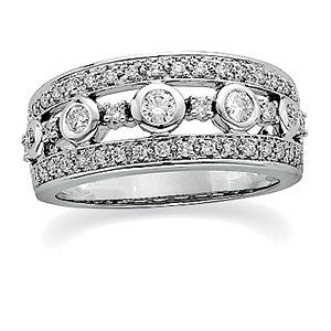 1/2 CTTW Diamond Anniversary Band in 14k White Gold (Size 6 )