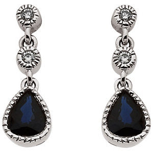 14k White Gold Blue Sapphire & Diamond Earrings