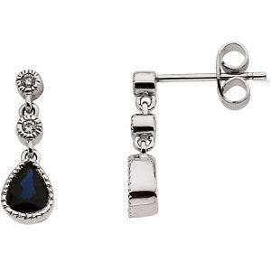 05.00 X 04.00 mm Pair of Sapphire and Diamond Earrings in 14K White Gold