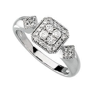 14k White Gold 1/3 CTW Diamond Cluster Ring Size 7