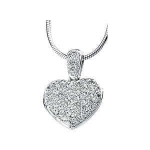 Cubic Zirconia Heart Locket Necklace in Sterling Silver
