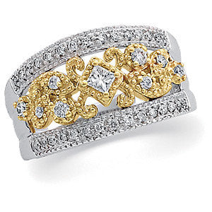 14K Two-Tone 1/2 CTW Diamond Anniversary Band, Size 7