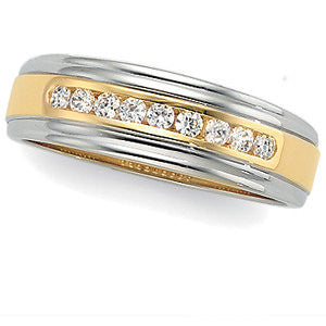 14K Yellow & White 1/4 CTW Diamond Band, Size 11