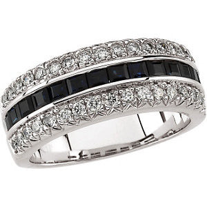 14k White Gold Blue Sapphire & 1/2 CTW Diamond Anniversary Band, Size 7
