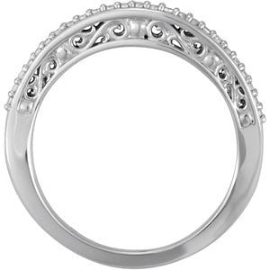14k White Gold 1/6 CTW Anniversary Band, Size 7