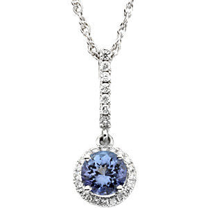 14k White Gold Genuine Tanzanite & Diamond Pendant