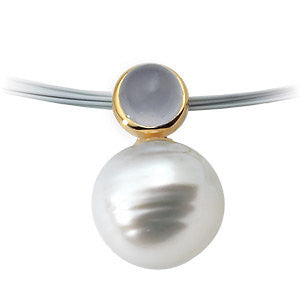 Elegant and Stylish 06.00 MM and 12.00 MM Fine Circle South Sea Cultured Pearl & Genuine Chalcedony Pendant in 14K Yellow Gold, 100% Satisfaction Guaranteed.