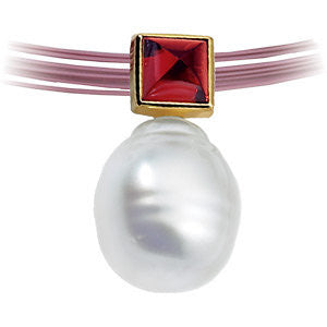 Elegant and Stylish 05.00 MM and 11.00 MM Fine Circle South Sea Cultured Pearl & Genuine Rhodolite Garnet Pendant in 14K White Gold, 100% Satisfaction Guaranteed.