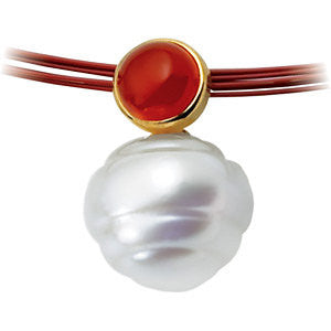 14k White Gold 6mm Carnelian & 11mm South Sea Cultured Circle Pearl Pendant