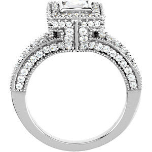 14k White Gold 1 1/5 CTW Diamond Engagement Ring, Size 7