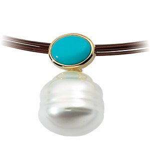 14k Yellow Gold 8x6mm Turquoise & South Sea Cultured Pearl Pendant