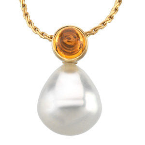 14k White Gold 6mm Citrine & 12mm South Sea Cultured Circle Pearl Pendant