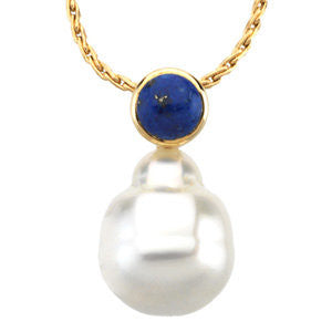 14k Yellow Gold 6mm Lapis & 11mm South Sea Cultured Pearl Pendant