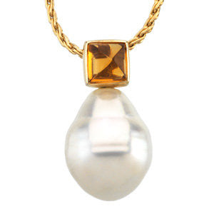 14k White Gold 5mm Citrine & 11mm South Sea Cultured Circle Pearl Pendant
