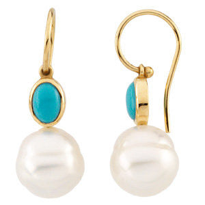 14k Yellow Gold Turquoise & 11mm South Sea Cultured Pearl Earrings