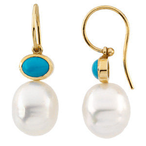 Elegant and Stylish Pair of 08.00X06.00 MM and 12.00 MM South Sea Cultured Pearl & Genuine Turquoise Earrings in 14K Yellow Gold, 100% Satisfaction Guaranteed.