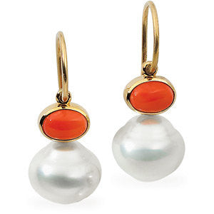 14k Yellow Gold 8x6mm Carnelian & 12mm South Sea Cultured Pearl Earrings