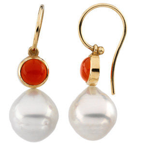 14k White Gold 6mm Round Carnelian Dangle Earrings