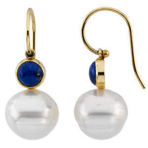 14k White Gold 6mm Round Lapis Dangle Earrings