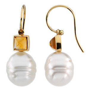 14k Yellow Gold 6mm Citrine Semi-set Earrings for Pearl