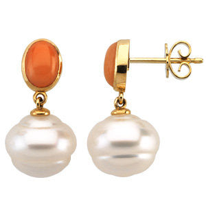 14k White Gold South Sea Cultured Pearl & Coral Earrings