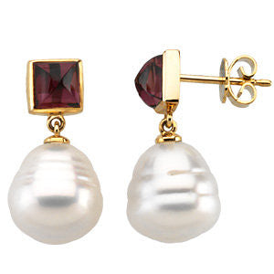 Elegant and Stylish Pair of 06.00 MM and 12.00 MM South Sea Cultured Pearl & Genuine Rhodolite Garnet Earrings in 14K White Gold, 100% Satisfaction Guaranteed.