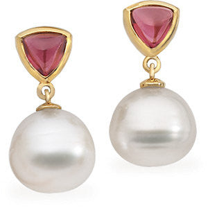 14k White Gold Rhodolite Garnet & South Sea Cultured Pearl Earrings or Semi-mount
